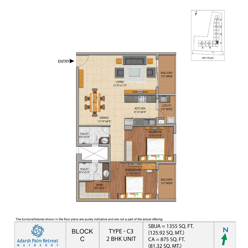 Adarsh Mayberry 2bhk Apartments C Block Floor Plan
